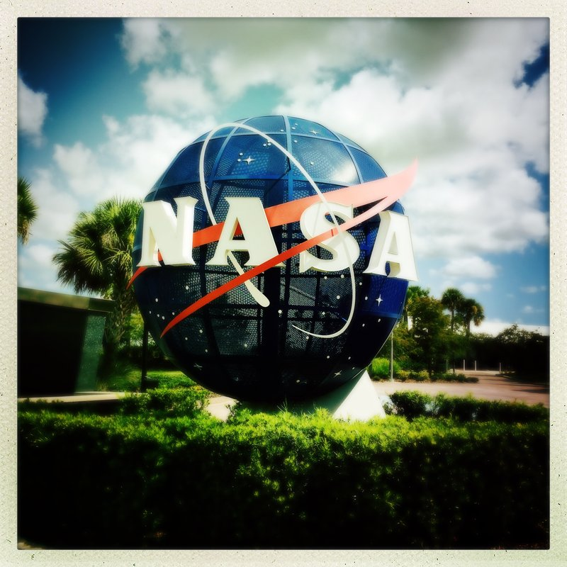 NASA meatball at the entrance to the Kennedy Space Center Visitor Center