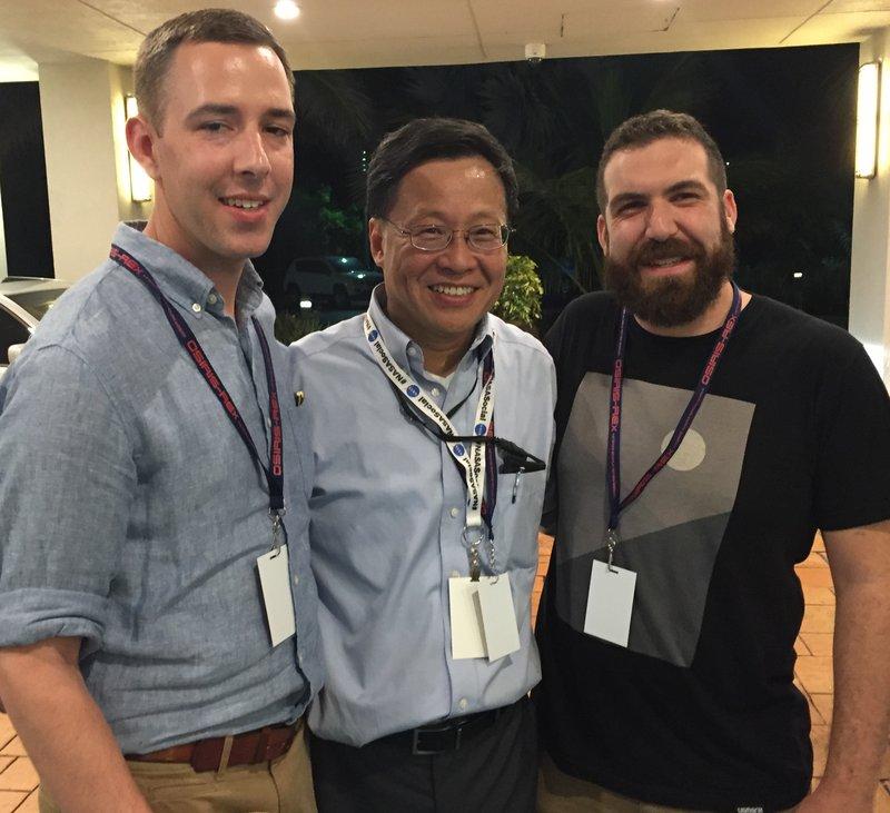 Ben Slavin, NASA's Dr. Yu, Nick Hudkins at Space Apps 2016 OSIRIS-REx launch