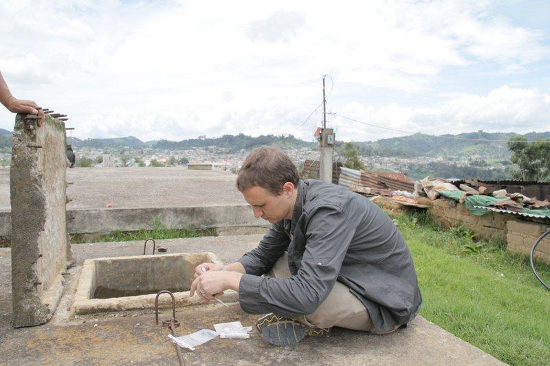 John testing on tank in comalapa