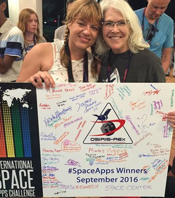 Space Apps Toronto host, Oksana Salamaszek, with NASA's Beth Beck