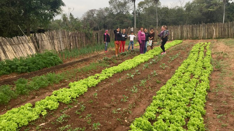 A garden full of green crops grows next to a group of women in Paraguay.