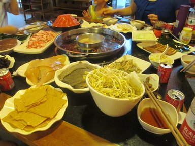 A traditional hot pot dinner.