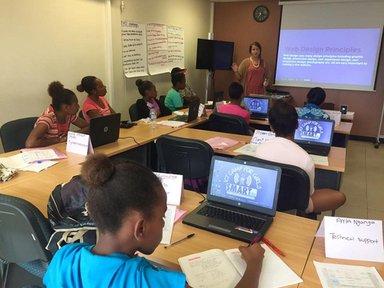 Teaching web design principles at the ICT Camp for Girls in Port Vila, Vanuatu