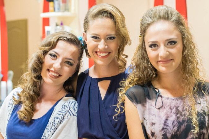 Antigona, me and Ardelina with makeup and hair for the final Albanian wedding. (Photo: Dave Strouse)