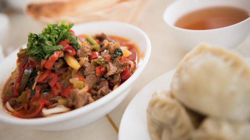 A plate of dumplings in the Kyrgyz Republic.