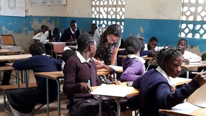 Volunteer Emily Hirsch teaching math in Zambia