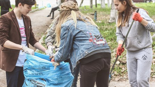 Students in northern Moldova gather for a clean-up project.