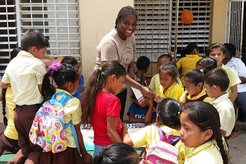 PCV Tiffany and school Children