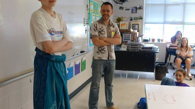 One of the students wearing the sarong Evan brought from Madura,  East Java