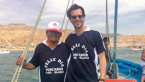 Peace Corps Response volunteer Christopher Giordano with Mercedes Tume, local fisherman.