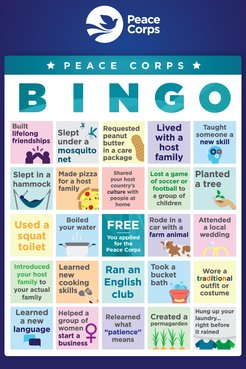 A Peace Corps themed bingo card, blue in color