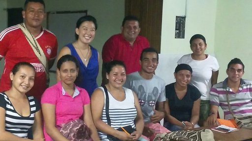 PCV Angell Kim after class with her group of students.