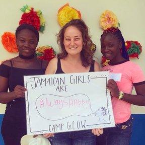 Rachel with community friends, Latifa and Bridgette