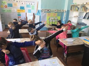 "The students love to show off their new sneezing and coughing techniques. Here are some of the third graders ""dabbing"" away the microbes!"