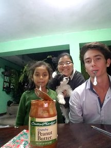 Nicolas and his host sisters.