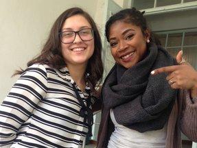 Volunteer Michelle M. and her high school student Rodica Novak.