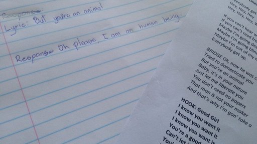 "A picture of a student's journal following the ""Blurred Lines"" intervention used to teach consent."