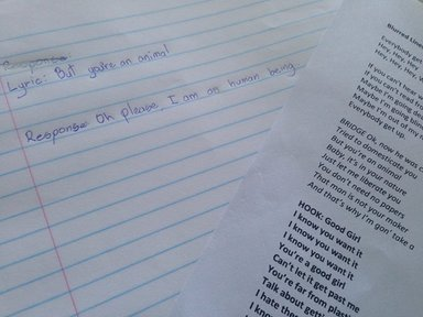 """A picture of a student's journal following the """"Blurred Lines"""" intervention used to teach consent."""