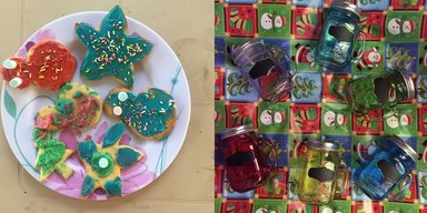 Christmas cookies and gifts
