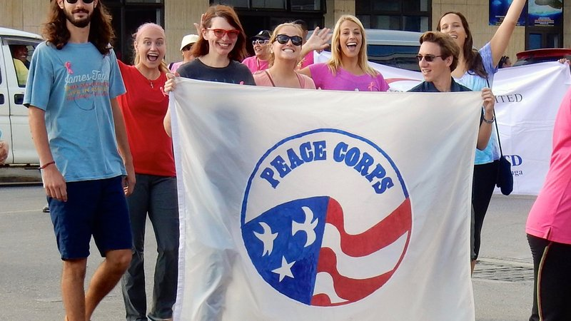 Group 80s marching in the breast Cancer Awareness Parade (October, 2015)