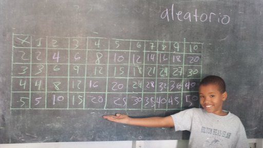Dominican child with completed times tables
