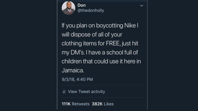 If you plan on boycotting your Nike clothing items I will dispose of them for you. Hit my DM's.