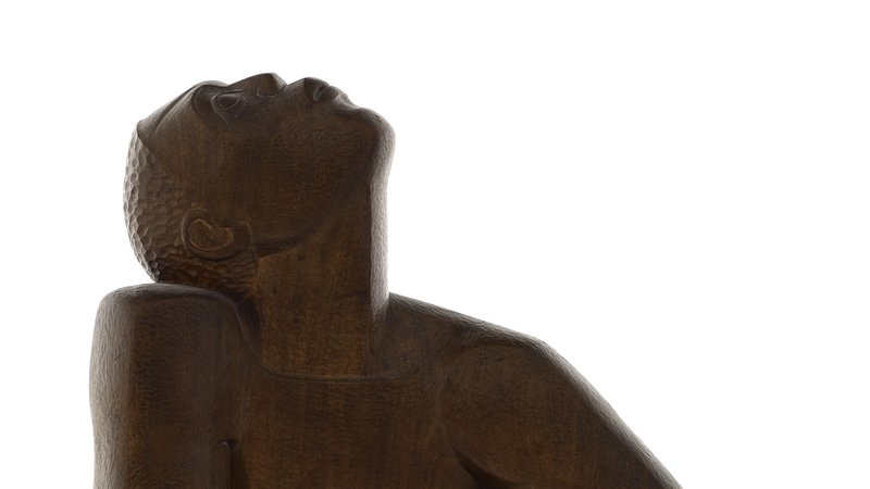 Archive photo of Edna Manley's wooden sculpture of a black man called Negro Aroused from the National Gallery of Jamaica