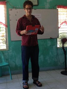 First day on the job, giving an introduction in Cebuano