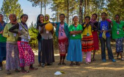 Ethiopia teen girls with soccer ball