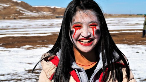Zombie make-up is a popular Halloween costume in Mongolia.