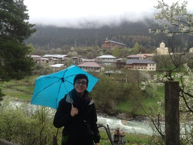 Hannah Combe with Umbrella