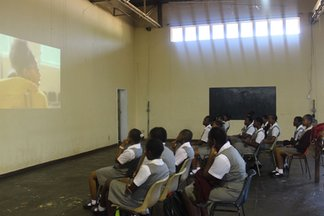 St. Michael's girls watching a documentary