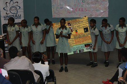 The girls give their presentations on women in STEM.