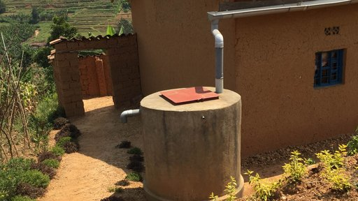 Rainwater collection tank for family.