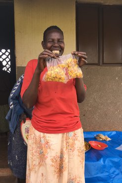 Participant showing off her packaged sweet potato chips