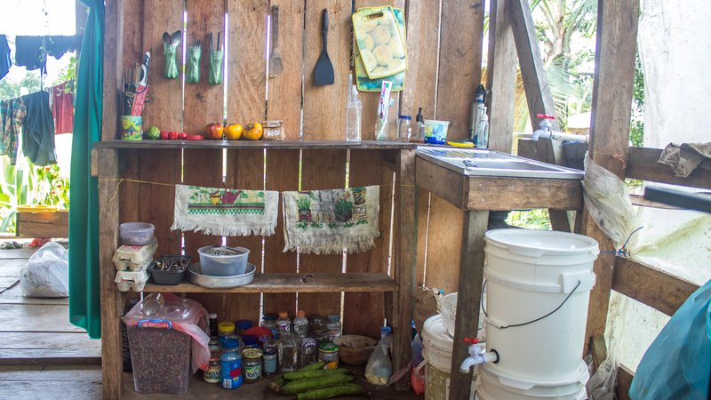 A kitchen in a wooden house in Panama.
