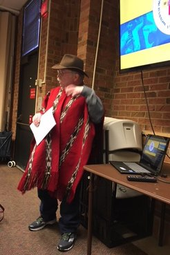 In the traditional Kañari poncho, presenting to the Returned Peace Corps Volunteers of New Jersey about our ongoing work.