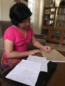 Volunteer Jami's host mom preparing speech for English Speaking Class_2017.jpg
