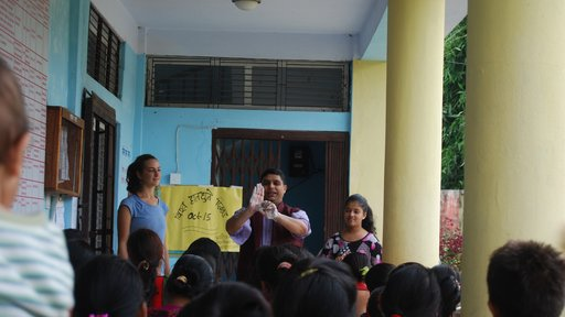 Doing a handwashing demonstration with Jhabindra