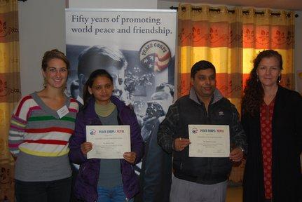 Rachel with Jhabindra Neupane, her government counterpart, and Khuma Somai, her community counterpart.