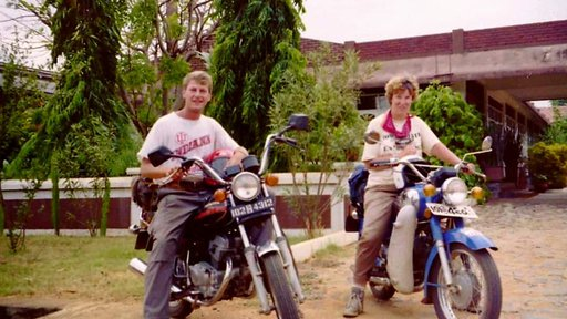 Laura and Larry on motor bikes