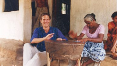 Learning to beat the drum beat from a village veteran drummer