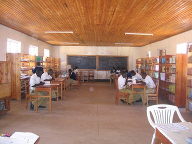 Children reading in the library in Tanzania