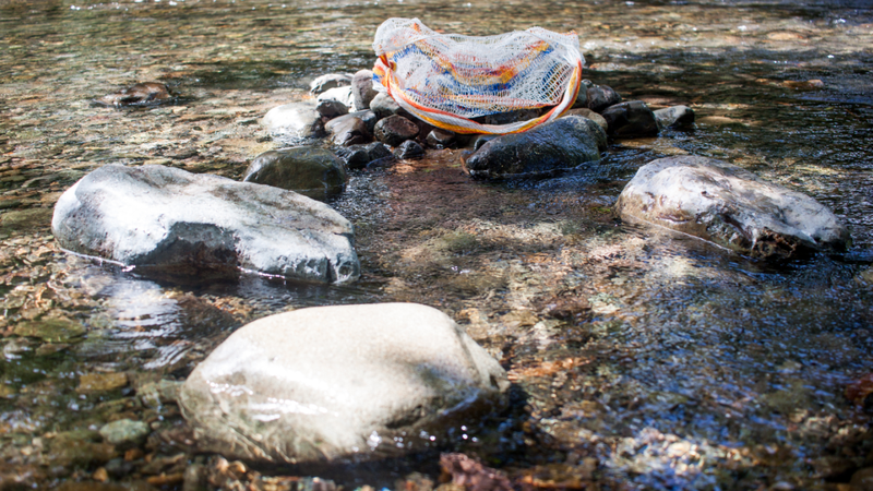A woven bag in a river.