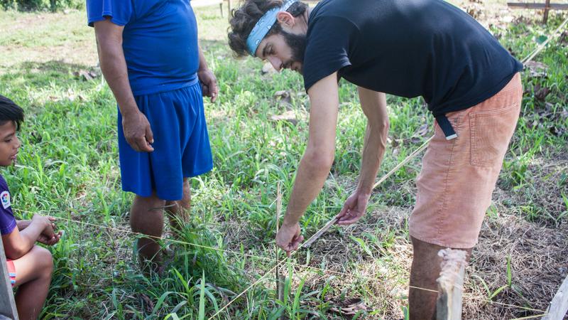 Two men gardening in Panama