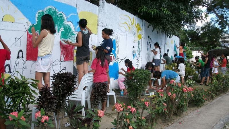 Making murals with Philippine youth.
