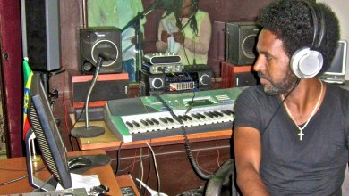 Recording some of the songs at Alex Studio in Mekelle