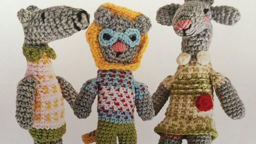 "Three of the original ART-I-SAN ""My Namibian Friend"" dolls: Makena Mongoose, Lele Lion and Gili Giraffe."