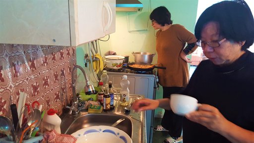 My host Bebo, or grandmother, and my mom cooking a Chinese meal together in Lagodekhi, Georgia.