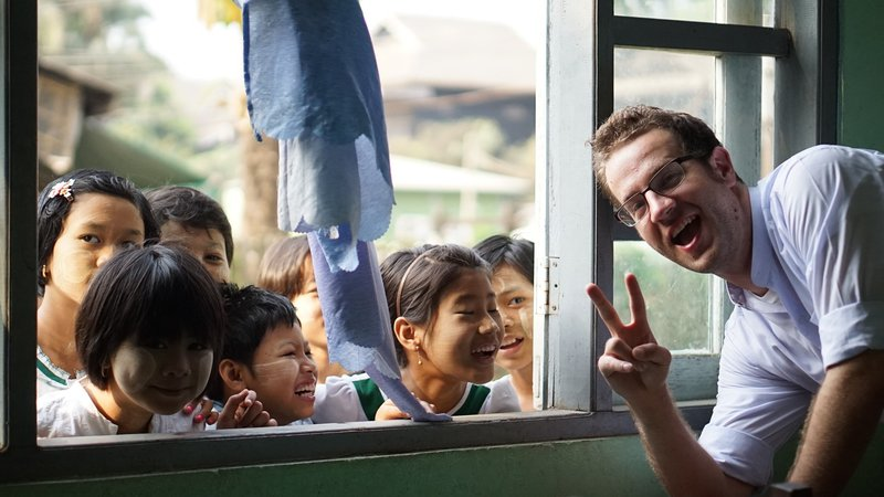 Paul with Myanmar students